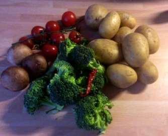 19.3.16 - Regenbogenforelle,Bratgemüse,Meerrettichdip,Petersilienkartoffel (3)