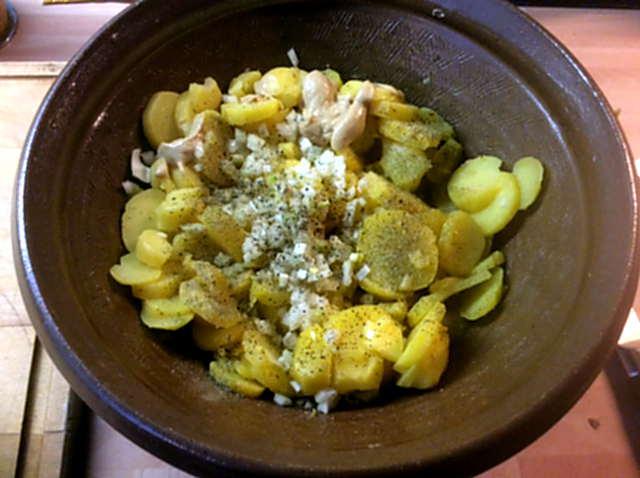 20.3.16 - Kartoffelsalat,pchiertes Ei,Quitten Dessert,vegetarisch (5)