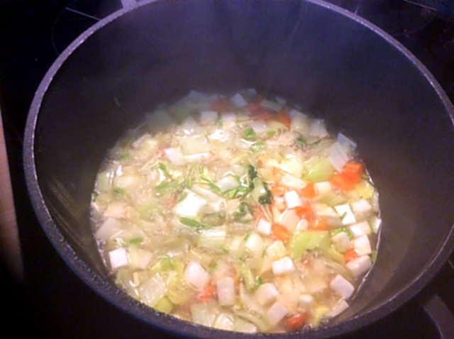 18.4.16  -  Gemüsesuppe ,selbstgemachte Nudeln (4)