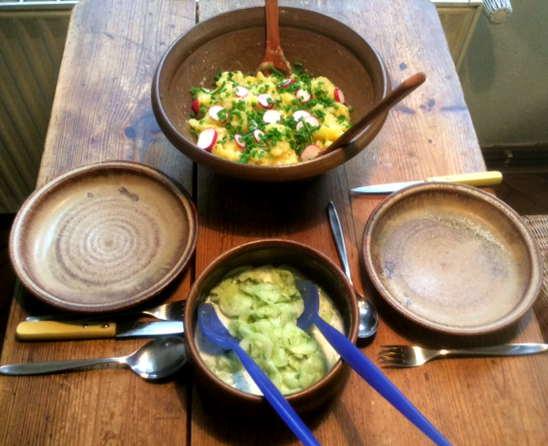 23.4.16 - Kartoffelsalat,pochiertes Ei,Gurkensalat (6)