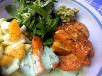 6.5.16 - Süßkartoffel,Fenchelsalat,Feldsalat,Guacamole,Joghurtdip (15)