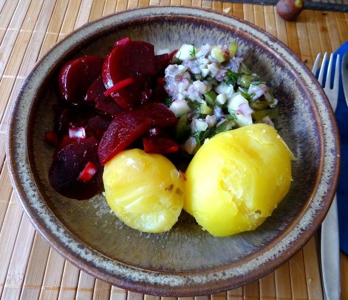Matjes Tatar,Rote Beete Salat,Pellkartoffeln,Apfelkompott (2)