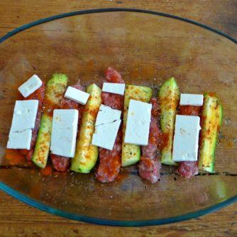 Zucchini Pfanne,Rohgebratene Kartoffeln,Pimientos,Obstsalat (10)