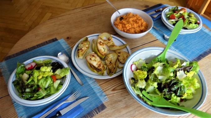 Chicoree mit Birnen,Hirse,Bunter Salat,Erdbeeren (15)