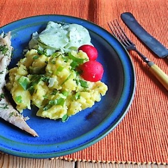 Kartoffelsalat und gräucherte Makrele,Birne in Glühwein , (18)