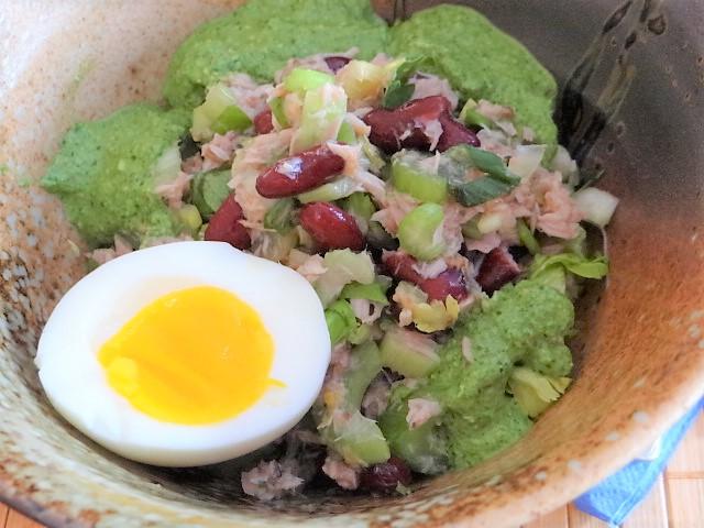 Bohnen Thunfisch Salat mit Rucola Pesto und Ei (2)