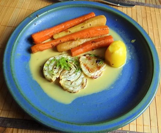 Ingwer Möhre,Pastinaken,gegrillter Fenchel,Orangensauce (2)