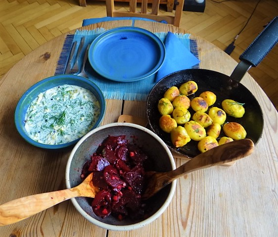 1Marinierter Hering,Rote Bete Salat, Bratkartoffeln (5)