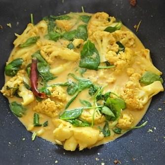 Blumenkohl Curry mit Blattspinat,Jasminreis (14)