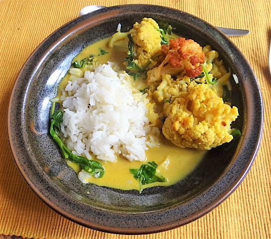 Blumenkohl Curry mit Blattspinat,Jasminreis (20)