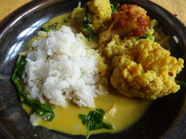 Blumenkohl Curry mit Blattspinat,Jasminreis (3)