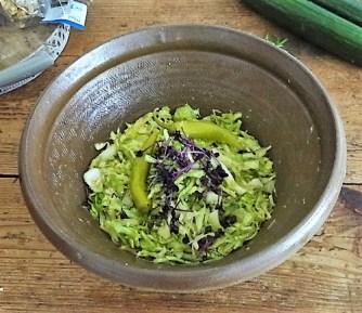 Krautsalat,Tzatziki,Kartoffelspalten,Hackbällchen