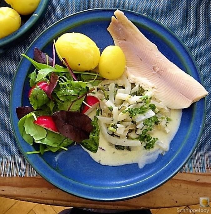 Mairübchen,geräuchertes Forellenfilet, Salat (1)