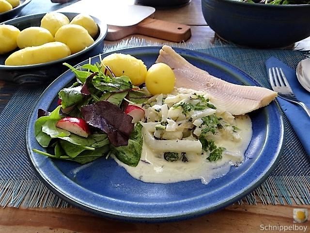 Mairübchen,geräuchertes Forellenfilet, Salat (2)