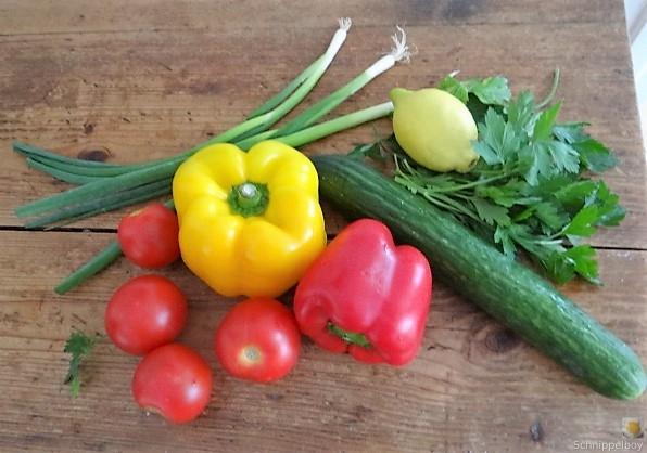 Salat(orientalisch), kleine Kartoffeln, Matjesfilet (6)