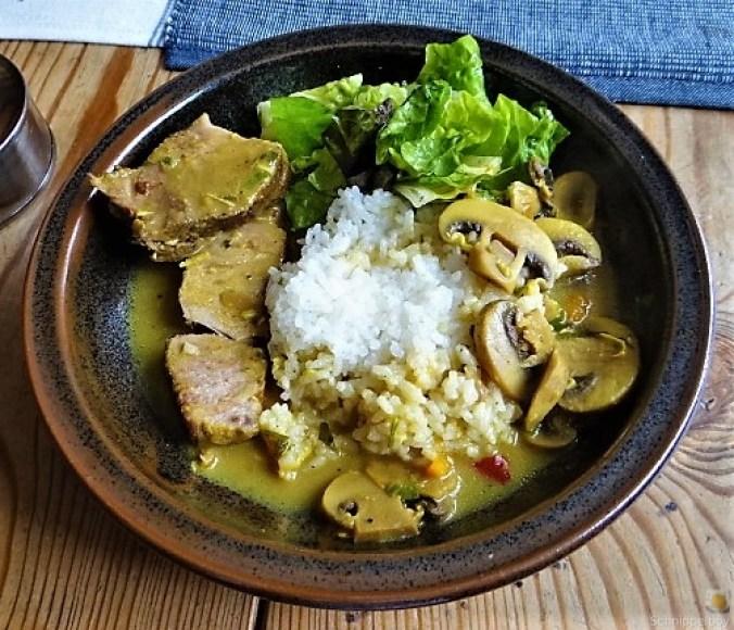 Sherryfleich,Reis,Salat (1)