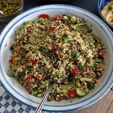 Wokgemüse, Tabouleh, Hummus, Spillinge (12)