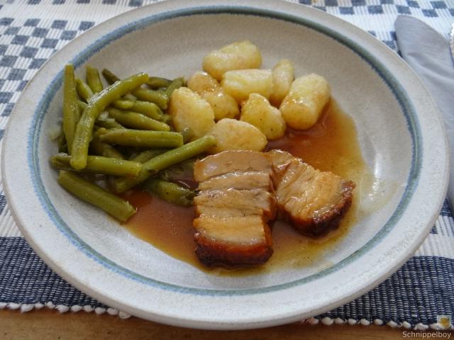 Bauchfleisch,Gnocchis,Bohnensalat (2)