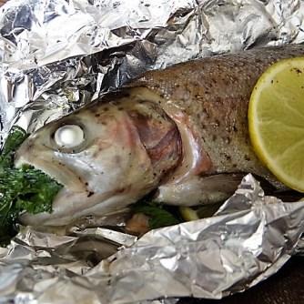 Forelle mit Petersilienkartoffel, Meerrettichdip und Salat (13)