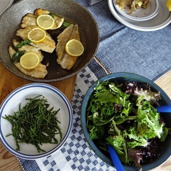 Scholle, Pflücksalat, Queller und Apfelkompott (9)