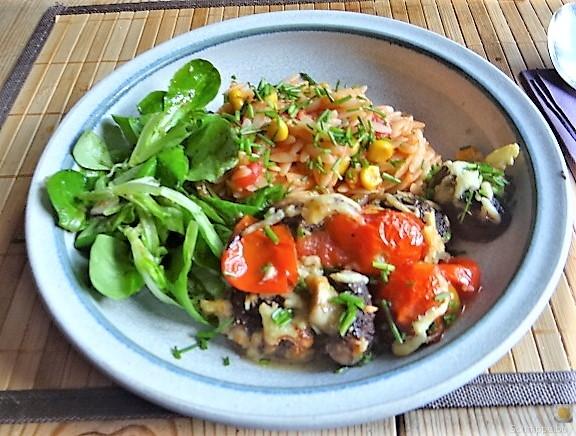 Campignon und Tomaten, Kritharaki (2)