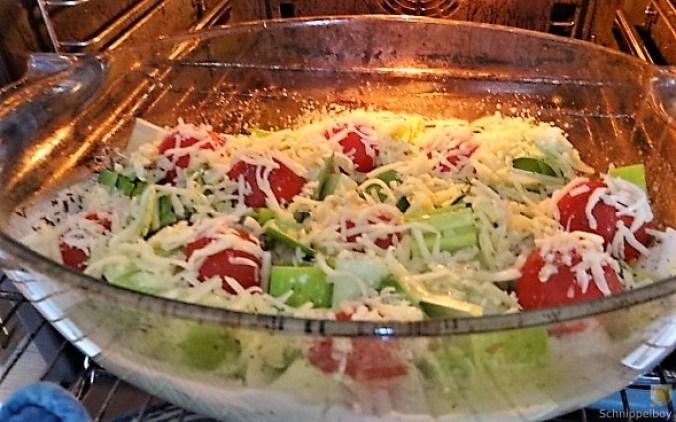 Lauchgratin und Kartoffelspalten (12)
