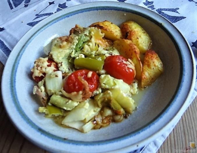 Lauchgratin und Kartoffelspalten (2)