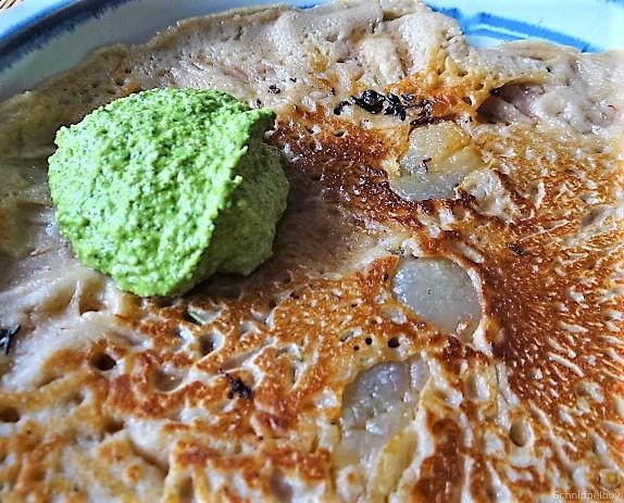 Buchweizenpfannkuchen,Ruccolapesto,Quittenkompott (4)