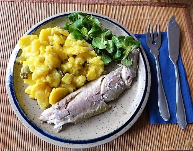 Kartoffelsalat, Makrele, Feldsalat (4)