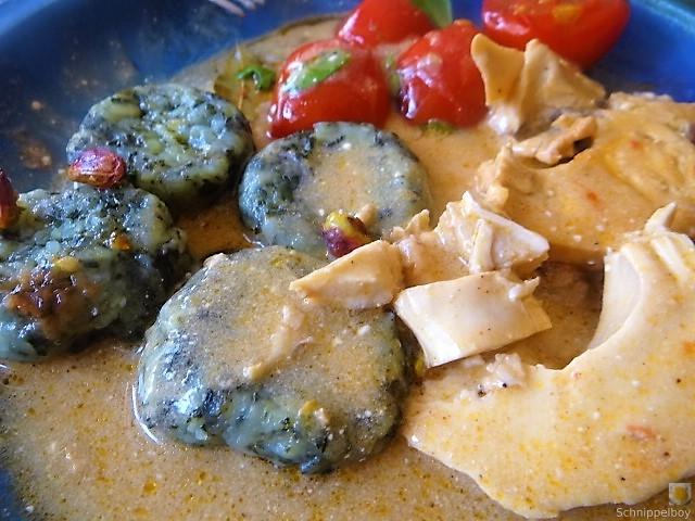Wildkräuter Gnocchis, Poulardenbrust, Geschmorte Tomaten (4)