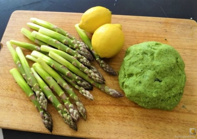 Grüne Klöße, Grüner Spargel, Zitronensauce (8)