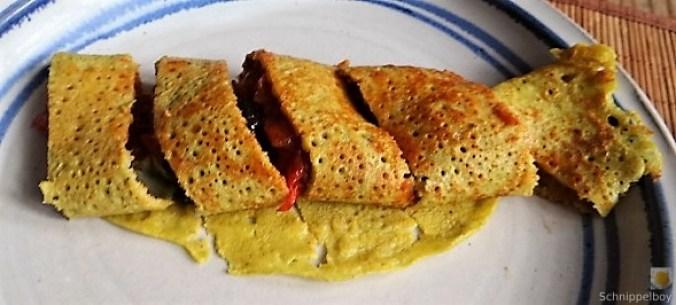 Buchweizen Pfannkuchen und Tomaten Ragout (4)