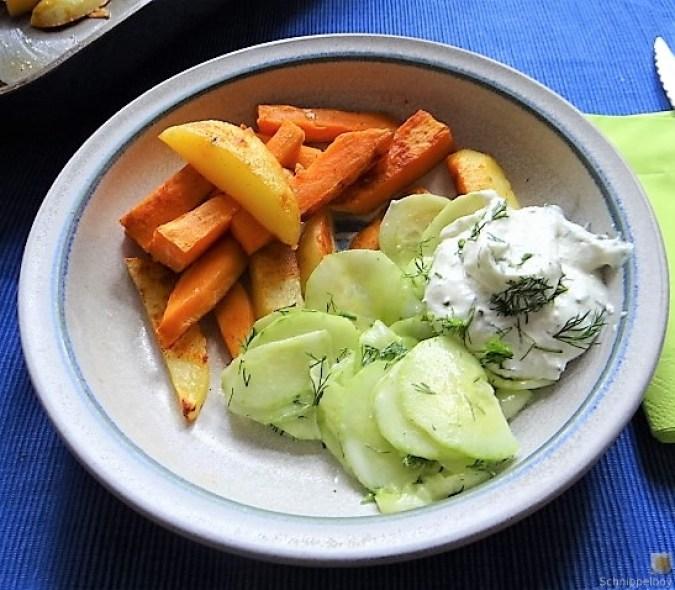 Kartoffelspalten, Meerrettichquark und Gurkensalat (16)
