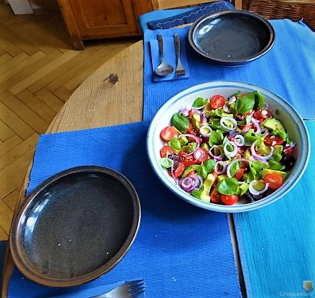 Spaghetti mit Gorgonzolasauce und Bunter Salat (4)