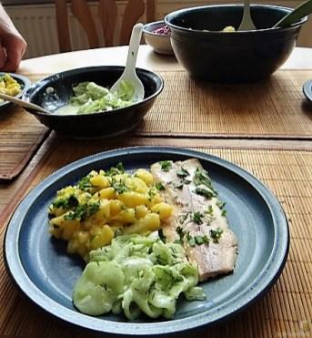 Kartoffelsalat, Gurkensalat und gräucherte Forelle (16)