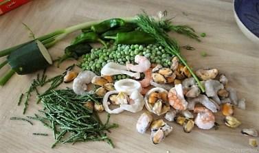 Gemüsesuppe mit Meeresfrüchten und Queller (10)