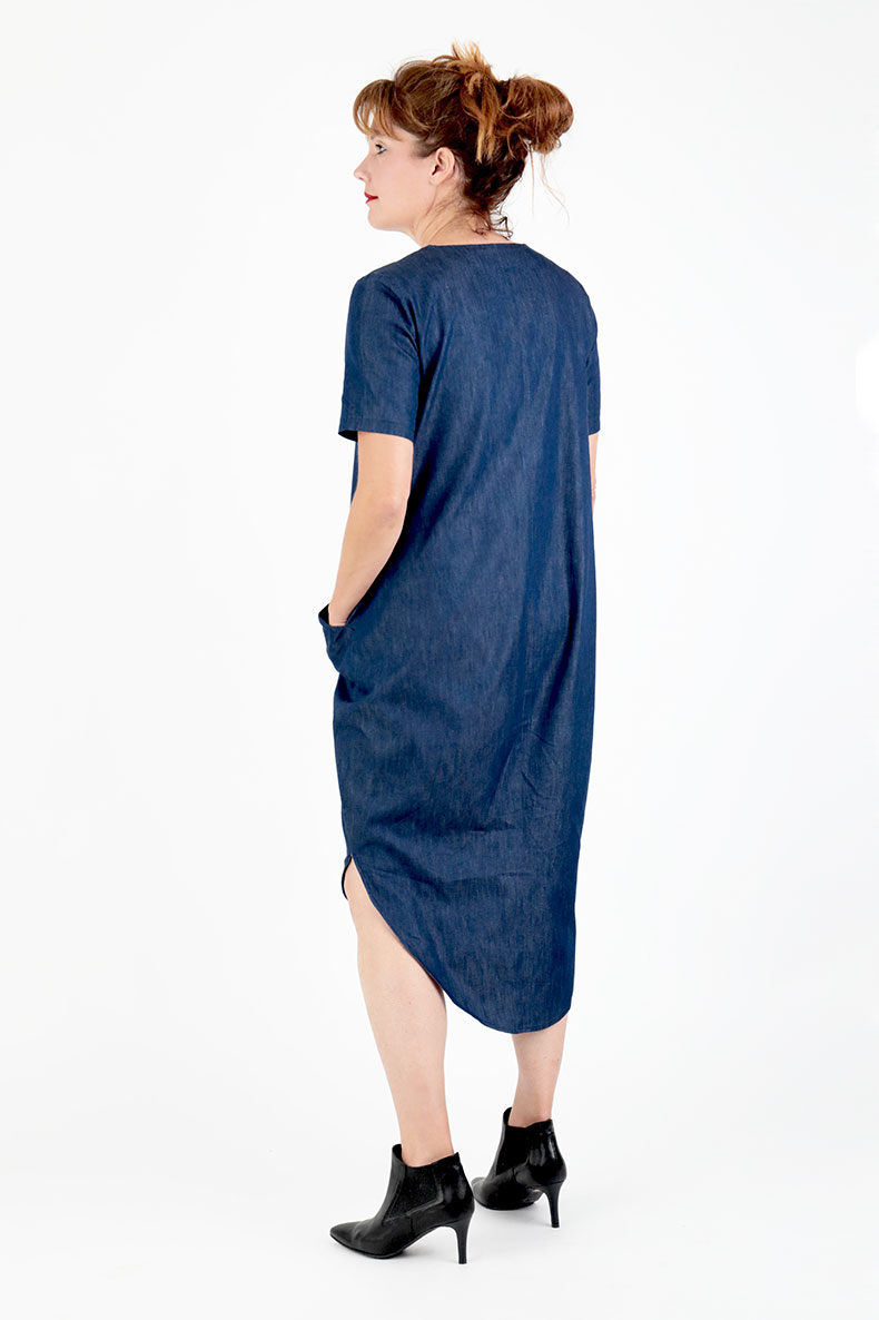 Sewing Pattern Cocoon Dress Trine - made with some light denim