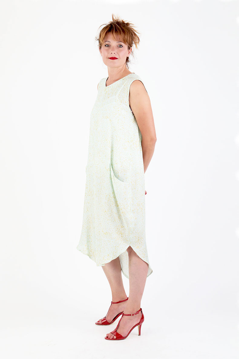 Sewing Pattern Cocoon Dress Trine - made with sheer and beautiful viscose crepe by Lotte Martens