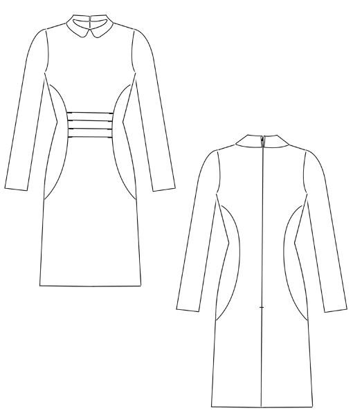Das Schnittmuster für festliche Anlässe. Schnittmuster Kleid Reni ist ein schickes Kleid mit Falten im Vorderteil und Bubikragen.