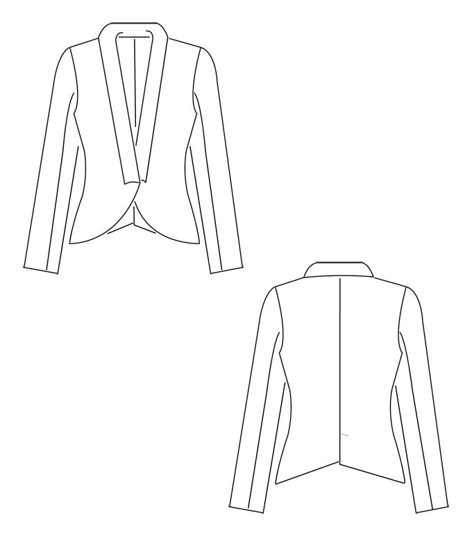 Schnittmuster für eine schicke Jacke mit Schalkragen.