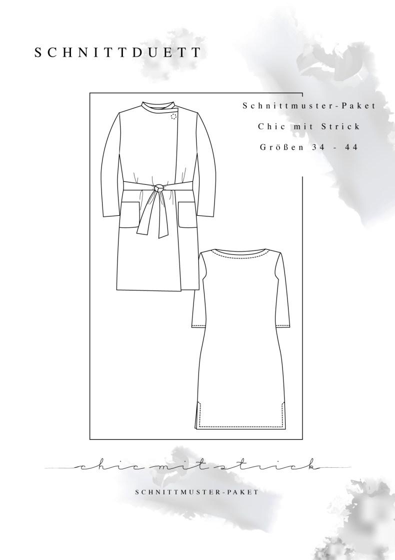 """Schnittmuster Paket """"Chic mit Strick"""" - Schnittmuster Kleid mit U-Boot-Ausschnitt Modular und Cardigan Wrapped im Set nähen - Schnittduett - Moderne Schnittmuster für Damen zum Selbernähen"""