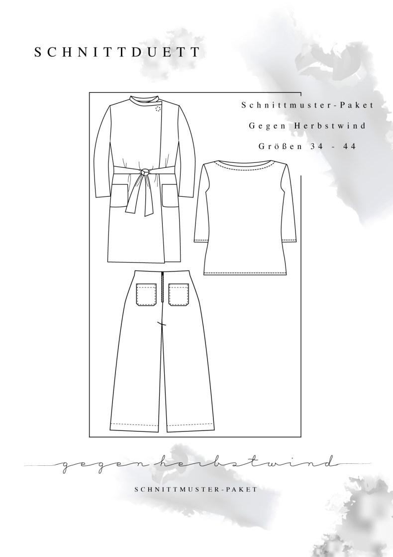 """Schnittmuster Paket """"Gegen Herbstwind"""" - Schnittmuster High Waist Hose Lola, U-Boot-Shirt Modular und Cardigan Wrapped im Set nähen - Schnittduett - Moderne Schnittmuster für Damen zum Selbernähen"""