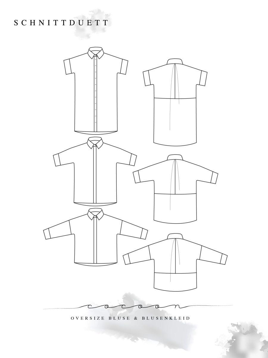 Schnittmuster Bluse nähen - Schnittduett Schnittmuster Oversize Bluse Cocoon Nähanleitung - Wir bieten moderne Schnittmuster für Damen