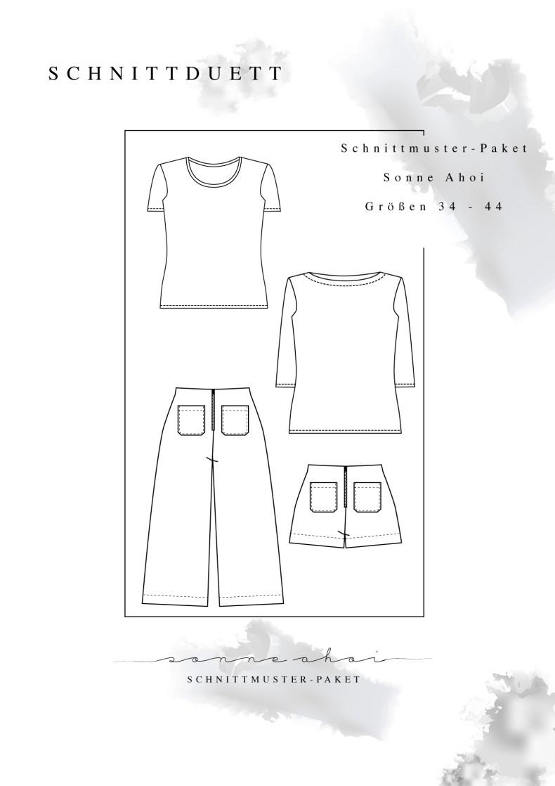 """Schnittmuster Paket """"Sonne Ahoi"""" - Schnittmuster High Waist Hose und Shorts Lola, T-Shirt Modular und U-Boot-Shirt Modular im Set - Schnittduett - Moderne Schnittmuster für Damen zum Selbernähen"""