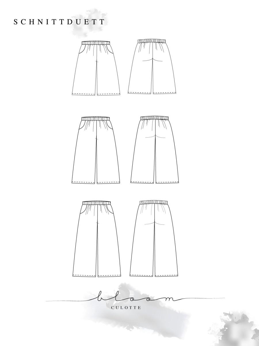 Bloom Collection - Schnittmuster Culotte Bloom - Schnittduett moderne Schnittmuster für Damen