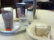 me enjoying a hot chocolate and the best Apfelstrudel ever