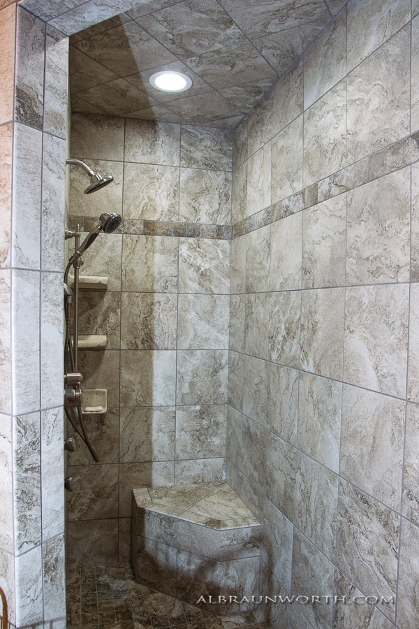 tiled walk in shower to age in place
