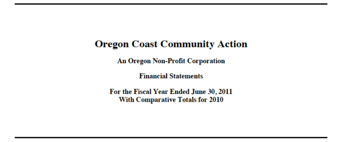 ORCCA's Year End 2011 Audit