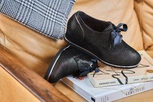 Schoenen Pantas Softwaves veterschoen zwart met sleehak (3)