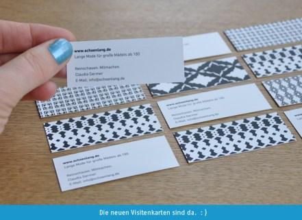 Die Visitenkarten für den Modeblog sind da.